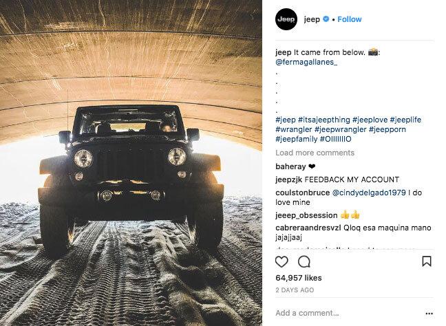 Example Jeep Instagram post