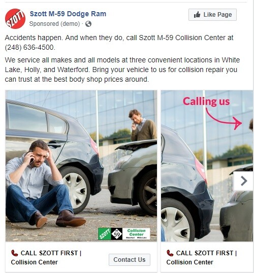 A set of Facebook Ads created by Dealer Authority.