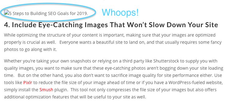 Example landing page with a broken image url on it.