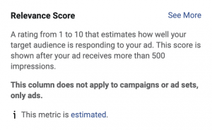 Facebook's Relevance Score definition