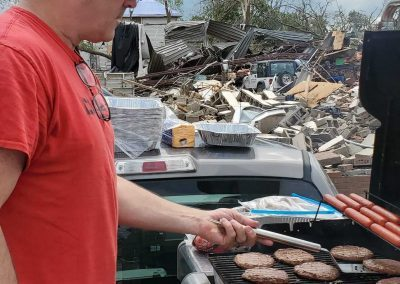 Jeff Glackin cooking for Tornado Relief